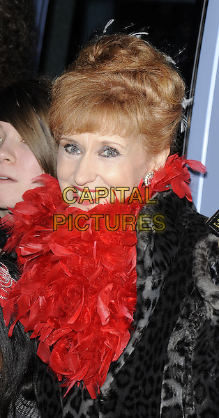 ANITA DOBSON.At the Variety Club Annual Dinner & Ball, London Hilton Hotel, Park Lane, London, England, UK, March 13th 2010..portrait headshot  fringe grey gray fur leopard print animal red feather boa smiling .CAP/CAN.©Can Nguyen/Capital Pictures