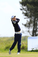 Andrew Magee (Powerscourt) on the 1st tee during Round 1 of the Irish Amateur Close Championship at Seapoint Golf Club on Saturday 7th June 2014.<br /> Picture:  Thos Caffrey / www.golffile.ie
