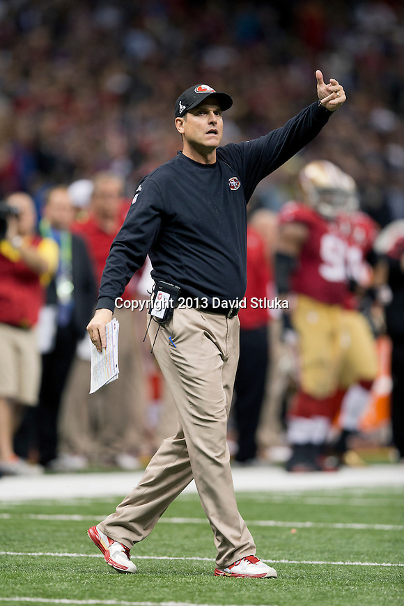San Francisco 49ers Head Coach Jim Harbaugh during the Super Bowl XLVII NFL football game against the San Francisco 49ers Sunday, February 3, 2013 in New Orleans. The Ravens won 34-31. (AP Photo/David Stluka)