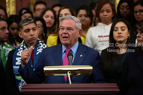 United States Senator Bob Menendez (Democrat of New Jersey), joined by other Democratic lawmakers, speaks during a press conference on the Deferred Action for Childhood Arrivals program on Capitol Hill in Washington D.C., U.S. on Tuesday, November 12, 2019.  The Supreme Court is currently hearing a case that will determine the legality and future of the DACA program.  <br /> <br /> Credit: Stefani Reynolds / CNP