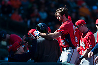 Gonzaga Bulldogs designated hitter Ryan Sullivan (40) celebrates with teammates after hitting a solo home run during a game against the Oregon State Beavers on February 16, 2019 at Surprise Stadium in Surprise, Oregon State defeated Gonzaga 9-3. (Zachary Lucy/Four Seam Images)