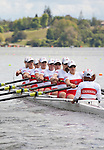 Rowing, Canada, Canadian Women's Eight, 8+, From bow: Emma Darling, Cristy Nurse, Janine Hanson, Rachelle De Jong, Krista Guloien, Ashley Brzozowicz, Darcy Marquardt, Adreanne Morin, Lesley Thompson-Willie, heat, race, Tuesday 2 November, 2010 FISA World Rowing Championships, Lake Karapiro, Hamilton, New Zealand,