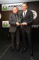Pictured L-R: Nigel Rees presents Stephen Kingsley with an award Wednesday 11 May 2016<br /> Re: Awards Dinner 2016, at the Liberty Stadium, south Wales, UK.