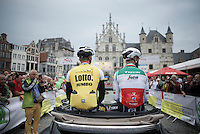 Sep Vanmarcke (BEL/LottoNL-Jumbo) & Italian Champion Giacomo Nizzolo (ITA/Trek-Segafredo) during the pre-race parade<br /> <br /> Post-Tour Criterium Mechelen (Belgium) 2016