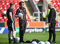 Blackpool manager Gary Bowyer shares a word with Terry McPhillips and Andy Todd before the warm up<br /> <br /> Photographer Alex Dodd/CameraSport<br /> <br /> The EFL Sky Bet League One - Rotherham United v Blackpool - Saturday 5th May 2018 - New York Stadium - Rotherham<br /> <br /> World Copyright &copy; 2018 CameraSport. All rights reserved. 43 Linden Ave. Countesthorpe. Leicester. England. LE8 5PG - Tel: +44 (0) 116 277 4147 - admin@camerasport.com - www.camerasport.com
