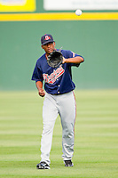 Gwinnett Braves starting pitcher Julio Teheran #27 warms up in the outfield prior to the game against the Charlotte Knights at Knights Stadium on June 3, 2012 in Fort Mill, South Carolina.  The Braves defeated the Knights 5-1.  (Brian Westerholt/Four Seam Images)