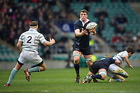 Will Rowlands of Oxford University (right) in action against Paul Mallaband of Cambridge University during the 131st Varsity Match between Oxford University and Cambridge University at Twickenham on Thursday 06 December 2012 (Photo by Rob Munro)