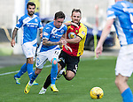 Partick Thistle v St Johnstone&hellip;10.09.16..  Firhill  SPFL<br />Danny Swanson fends off Sean Walsh<br />Picture by Graeme Hart.<br />Copyright Perthshire Picture Agency<br />Tel: 01738 623350  Mobile: 07990 594431