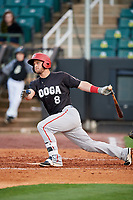 Chattanooga Lookouts catcher Dan Rohlfing (8) follows through on a swing during a game against the Jackson Generals on April 27, 2017 at The Ballpark at Jackson in Jackson, Tennessee.  Chattanooga defeated Jackson 5-4.  (Mike Janes/Four Seam Images)