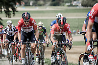 Lotto Soudal riders in the peloton. <br /> <br /> Binckbank Tour 2018 (UCI World Tour)<br /> Stage 6: Riemst (BE) - Sittard-Geleen (NL) 182,2km