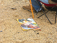 A palette in the sand as plein air artist Edwin Bertolet (www.ebertolet.com)  prepares his tools.