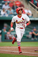 Springfield Cardinals center fielder Oscar Mercado (26) runs to first base during a game against the Corpus Christi Hooks on May 31, 2017 at Hammons Field in Springfield, Missouri.  Springfield defeated Corpus Christi 5-4.  (Mike Janes/Four Seam Images)