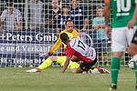 04.09.2018, Hoheellern-Stadion, Leer, GER, FSP, Werder Bremen (GER) vs FC Emmen (NED)<br /> <br /> DFL REGULATIONS PROHIBIT ANY USE OF PHOTOGRAPHS AS IMAGE SEQUENCES AND/OR QUASI-VIDEO.<br /> <br /> im Bild / picture shows<br /> Jaroslav Drobny (Werder Bremen #33) im Duell / im Zweikampf mit Luciano Slagveer (FC Emmen #17), <br /> <br /> Foto © nordphoto / Ewert