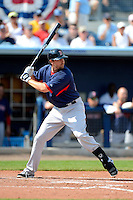 Boston Red Sox third baseman Drew Sutton #44 during a Grapefruit League Spring Training game against the Tampa Bay Rays at Charlotte County Sports Park on February 25, 2013 in Port Charlotte, Florida.  Tampa Bay defeated Boston 6-3.  (Mike Janes/Four Seam Images)