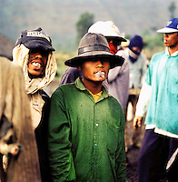Group of roadworkers in Java, Indonesia