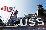 USA, California, San Diego, parts of the historic naval aircraft carrier in the USS Midway Museum