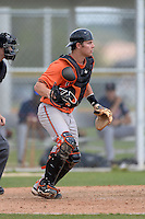 Catcher Alex Murphy (65) of the Baltimore Orioles organization during a minor league spring training game against the Minnesota Twins on March 20, 2014 at Buck O'Neil Complex in Sarasota, Florida.  (Mike Janes/Four Seam Images)