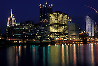 AJ4289, Pittsburgh, skyline, downtown, Pennsylvania, The illuminated downtown skyline of Pittsburgh reflects in the calm water of the Monongahela River at night in the state of Pennsylvania.
