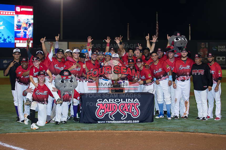 The South Division All-Stars pose for a group photo following their win in the 2018 Carolina League All-Star Classic at Five County Stadium on June 19, 2018 in Zebulon, North Carolina. The South All-Stars defeated the North All-Stars 7-6.  (Brian Westerholt/Four Seam Images)
