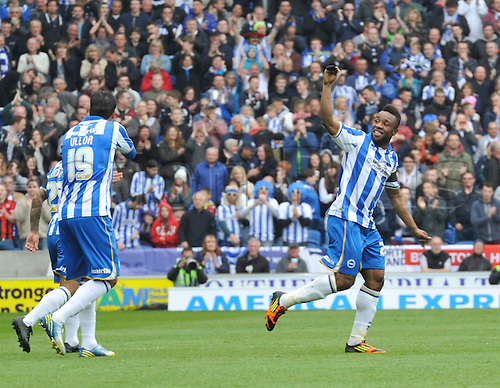 04.05.2013 Brighton, England. Brighton's Kazenga LuaLua celebrates as he scores during the Championship game between Brighton & Hove Albion and Wolverhampton Wanderers from the Falmer  Amex Stadium.