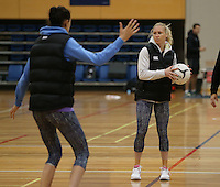 03.07.2014 Silver Fern Laura Langman in action during the Silver Ferns netball training session at the AUT in Auckland. Mandatory Photo Credit ©Michael Bradley.