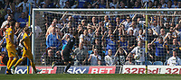 Preston North End's Chris Maxwell can't keep out Leeds United's Kemar Roofe's lob<br /> <br /> Photographer Alex Dodd/CameraSport<br /> <br /> The EFL Sky Bet Championship - Leeds United v Preston North End - Saturday 8th April 2017 - Elland Road - Leeds<br /> <br /> World Copyright &copy; 2017 CameraSport. All rights reserved. 43 Linden Ave. Countesthorpe. Leicester. England. LE8 5PG - Tel: +44 (0) 116 277 4147 - admin@camerasport.com - www.camerasport.com