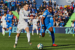 Gareth Bale of Real Madrid and Allan-Romeo Nyom of Getafe FC during La Liga match between Getafe CF and Real Madrid at Coliseum Alfonso Perez in Getafe, Spain. January 04, 2020. (ALTERPHOTOS/A. Perez Meca)