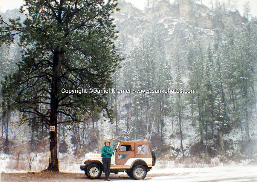 With my new jeep somewhere on the road between my newspaper job at the Meade County Times in Sturgis and my bartending job at The Dakota Territory saloon in Deadwood.
