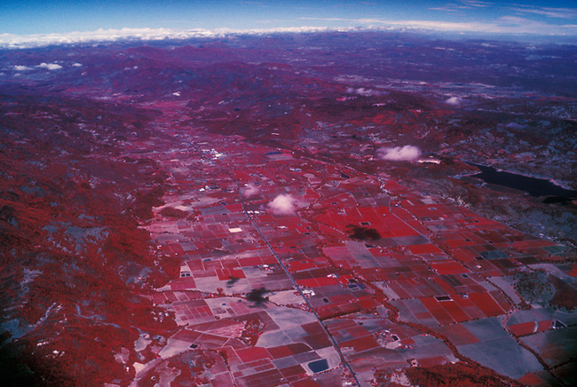 Infra Red aerial of Napa Valley looking north, with Highway 29 in center.  Photo taken over Yountville, ca