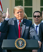 United States President Donald J. Trump delivers remarks on the United States Mexico Canada Agreement (USMCA) in the Rose Garden of the White House in Washington, DC on Monday, October 1, 2018.  The President  took questions on the agreement and on the Kavanaugh nomination.<br /> Credit: Ron Sachs / CNP