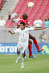 11 March 2008: Rigoberto Padilla (HON) (7) is fouled by Jean Carlos Cedeno (PAN) (behind). The Honduras U-23 Men's National Team defeated the Panama U-23 Men's National Team 1-0 at Raymond James Stadium in Tampa, FL in a Group A game during the 2008 CONCACAF's Men's Olympic Qualifying Tournament.