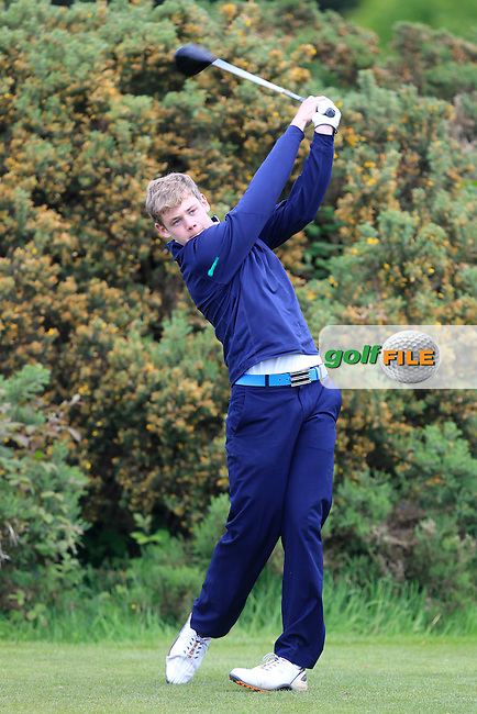 Cathal Nolan (Galway) on the 12th tee during the Final of the Connacht Barton Shield at Galway Golf Club on Sunday 7th June 2015.<br /> Picture:  Thos Caffrey / www.golffile.ie