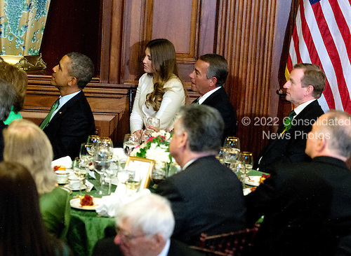United States President Barack Obama, left, Speaker of the U.S. House of Representatives John Boehner (Republican of Ohio), center, and Prime Minister Enda Kenny of Ireland, right, attend a St. Patrick's Day luncheon hosted by Members of Congress in the U.S. Capitol in Washington, D.C. on Friday, March 14, 2014.<br /> Credit: Ron Sachs / Pool via CNP