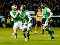 28th January 2020; Easter Road, Edinburgh, Scotland; Scottish Cup replay, Football, Hibernian versus Dundee United; Christian Doidge of Hibernian celebrates after scorings after scoring to make  it 3-2 to Hibernian