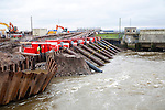 Engineering work on flood defences on the King's Sedgemoor Drain river at Dunball, near Bridgwater, Somerset, England, February 2013