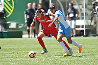 Portland, OR - Saturday August 05, 2017: Christine Sinclair, Poliana Barbosa Medeiros during a regular season National Women's Soccer League (NWSL) match between the Portland Thorns FC and the Houston Dash at Providence Park.