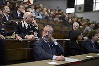 Roma, 27 Marzo 2015.<br /> Carmelo Barbagallo.<br /> Commemorazione di Ezio Tarantelli nel trentesimo anniversario della sua uccisione da parte delle Brigate Rosse.<br /> Università La Sapienza , facoltà di Economia e Commercio.