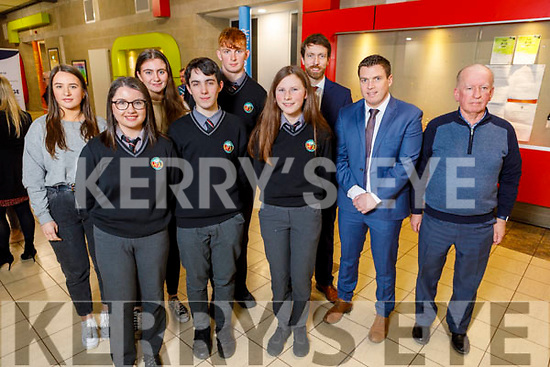"Students and staff of Gaelcholáiste Chiarraí attending the Kerry ETB Student Awards ceremony in the IT Tralee on Friday night. Front l to r: Sinéad Ní Mhurchú, Peadar Claro and Aoife Ní Shúilleabháin.<br /> Back l to r: Laoise Ní Chaochlaigh, Sadhbh Sionóid, Caolán Ó'Conaill, Ruairí Ó'Cinnéide (Principal), Conall O""Cruadhlaoich and Nollaig O'Cianáin."