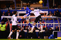 Maikel Kieftenbeld of Birmingham wins a header over Richard Keogh of Derby during the Sky Bet Championship match between Birmingham City and Derby County at St Andrews, Birmingham, England on 13 January 2018. Photo by Bradley Collyer / PRiME Media Images.