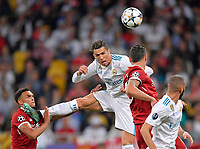 26.05.2018,  Football UEFA Champions League Finale 2018, Real Madrid - FC Liverpool, Olympiastadium Kiew (Ukraine).  Trent Alexander-Arnold (FC Liverpool)  -  Cristiano Ronaldo (Real Madrid) and Dejan Lovren (FC Liverpool) , Karim Benzema (Real Madrid)  *** Local Caption *** © pixathlon<br /> <br /> Contact: +49-40-22 63 02 60 , info@pixathlon.de