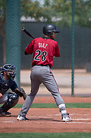 Arizona Diamondbacks outfielder Dalgeli Diaz (28) at bat during an Extended Spring Training game against the Cleveland Indians at the Cleveland Indians Training Complex on May 27, 2018 in Goodyear, Arizona. (Zachary Lucy/Four Seam Images)