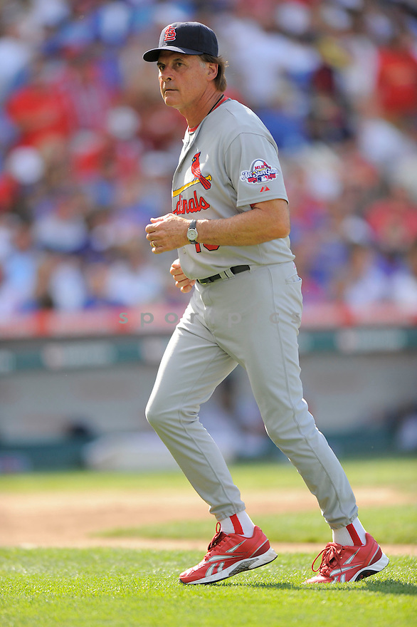 TONY LARUSSA,of the St. Louis Cardinals in action  during the Cardinals game against the  Chicago Cubs, The  Cubs beat the Cardinals 7-3 in Chicago, Illinois on July 12, 2009...David Durochik
