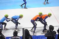 SHORTTRACK: DORDRECHT: Sportboulevard Dordrecht, 24-01-2015, ISU EK Shorttrack, Relay, Ruslan ZAKHAROV (RUS | #64), Dmitry MIGUNOV (RUS | #63), Itzhak DE LAAT (NED | #50), Daan BREEUWSMA (NED | #49), ©foto Martin de Jong