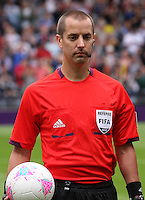 Men's Olympic Football match Spain v Japan on 26.7.12...Match Referee Mark Geiger of the United States of America, during the Spain v Japan Men's Olympic Football match at Hampden Park, Glasgow..........