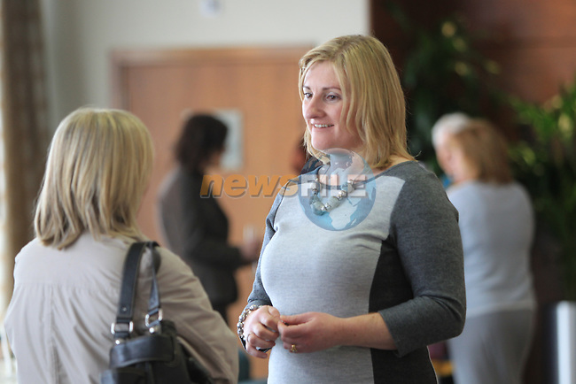 Louisa Maher Speaking with the guests as they arrive at the Network Ireland International Womens Day event in the Crowne Plaza Dundalk...Picture: Fran Caffrey/ www.newsfile.ie.