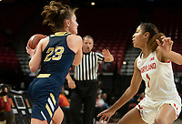 COLLEGE PARK, MD - NOVEMBER 20: Faith Blethen #23 of George Washington holds the ball from Shakira Austin #1 of Maryland during a game between George Washington University and University of Maryland at Xfinity Center on November 20, 2019 in College Park, Maryland.
