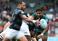 Leicester Tigers' Manu Tuilagi keeps his eye on the ball as Newcastle Falcons' Sonatane Takulua kicks downfield from a scrum <br /> <br /> Photographer Stephen White/CameraSport<br /> <br /> Gallagher Premiership Round 2 - Leicester Tigers v Newcastle Falcons - Saturday September 8th 2018 - Welford Road - Leicester<br /> <br /> World Copyright &copy; 2018 CameraSport. All rights reserved. 43 Linden Ave. Countesthorpe. Leicester. England. LE8 5PG - Tel: +44 (0) 116 277 4147 - admin@camerasport.com - www.camerasport.com