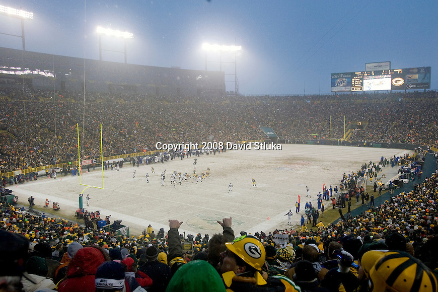 A general view of Lambeau Field during the Green Bay Packers game against the Seattle Seahawks during the NFC divisional playoff game at Lambeau Field on January 12, 2008 in Green Bay, Wisconsin. The Packers beat the Seahawks 42-20. (AP Photo/David Stluka)