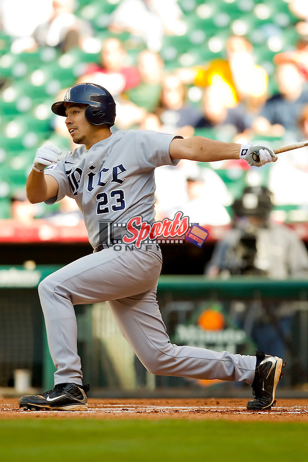 Anthony Rendon #23 of the Rice Owls connects for a solo home run in the top of the 1st inning to give the Owls a 1-0 lead over the Baylor Bears at Minute Maid Park on March 6, 2011 in Houston, Texas.  Photo by Brian Westerholt / Four Seam Images