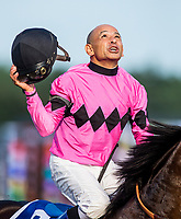 SARATOGA SPRINGS, NY - AUGUST 26: Jockey Mike Smith, before the Travers Stakes at Saratoga Race Course on August 26, 2017 in Saratoga Springs, New York.(Photo by Alex Evers/Eclipse Sportswire/Getty Images)